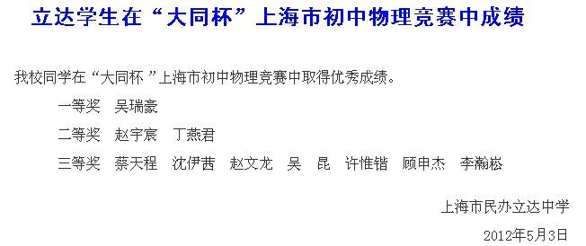 立达中学大同杯上海市初中物理竞赛成绩