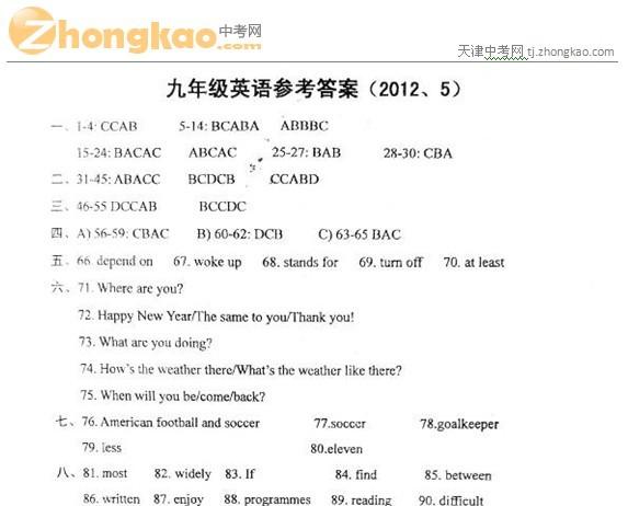 2012年天津红桥区中考二模英语试题答案