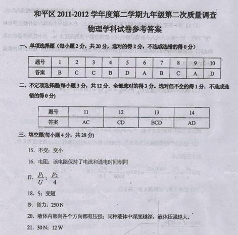 2012年天津市和平区中考二模物理试题答案