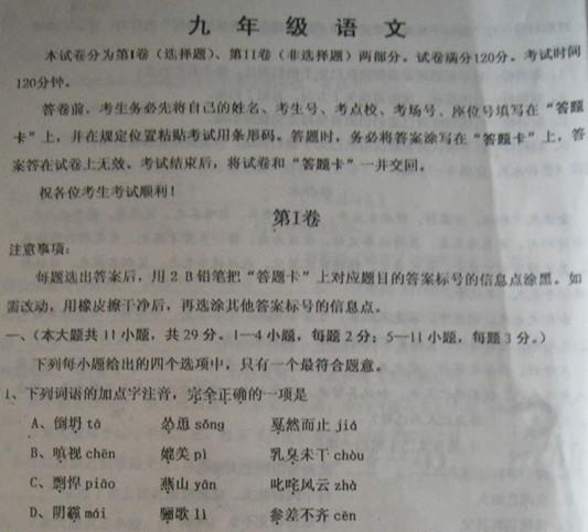 2012年天津红桥区中考二模语文试题