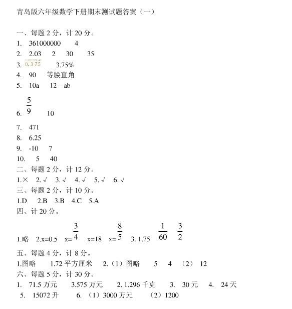 青岛小升初 青岛小学六年级下册期末考试题及答案(5)