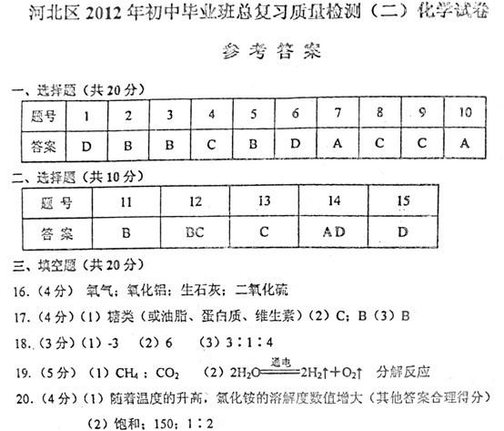 2012年天津河北区中考二模化学试题答案