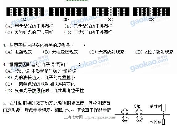 2012上海高考物理试卷