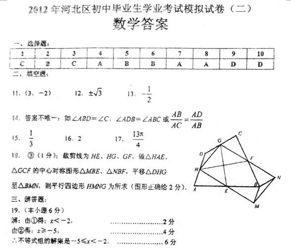 2012年天津市河北区中考二模数学试题答案