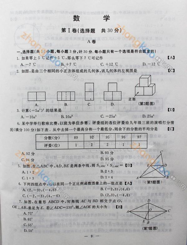 2012 陕西中考 数学 真题 答案