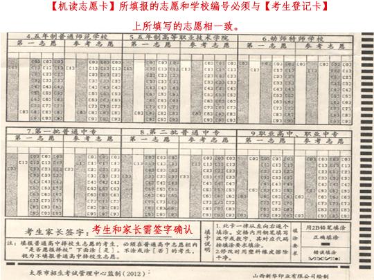 2012太原中考志愿填报