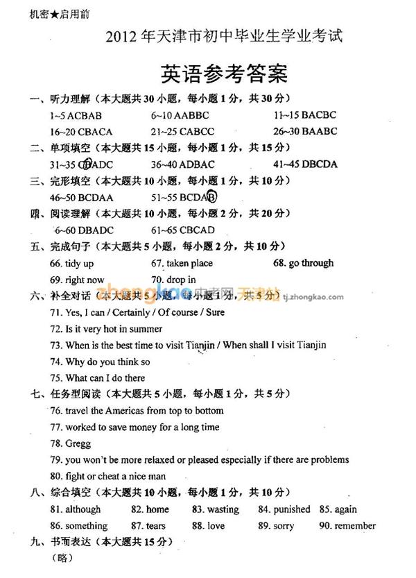 2012年天津中考英语试题答案