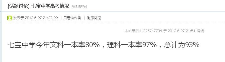 上海七宝中学高考一本率和本科率