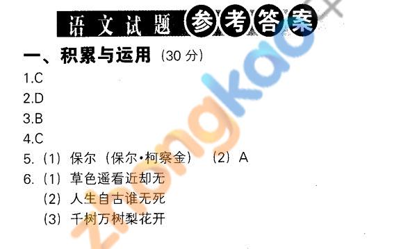 2012年沈阳中考语文试题参考答案