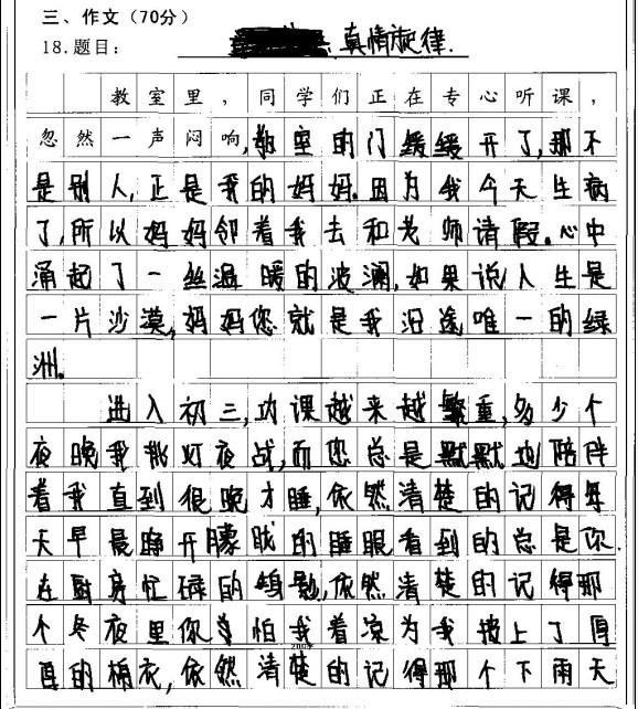2012莆田中考满分作文:真情旋律 中考网
