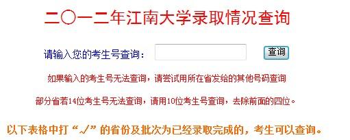 江南大学2012高考录取结果查询系统