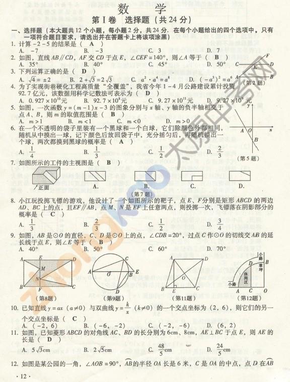 2012山西中考数学试卷