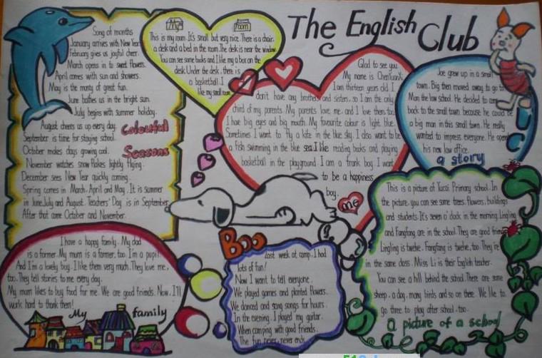 英语手抄报模板展示:the english club