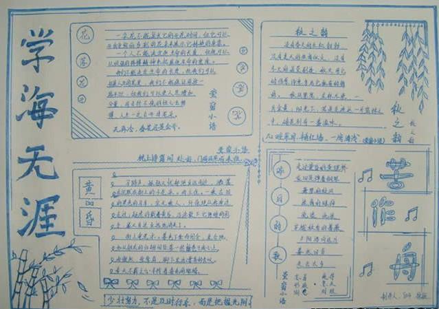 济南小学生读书手抄报推荐:学海无涯