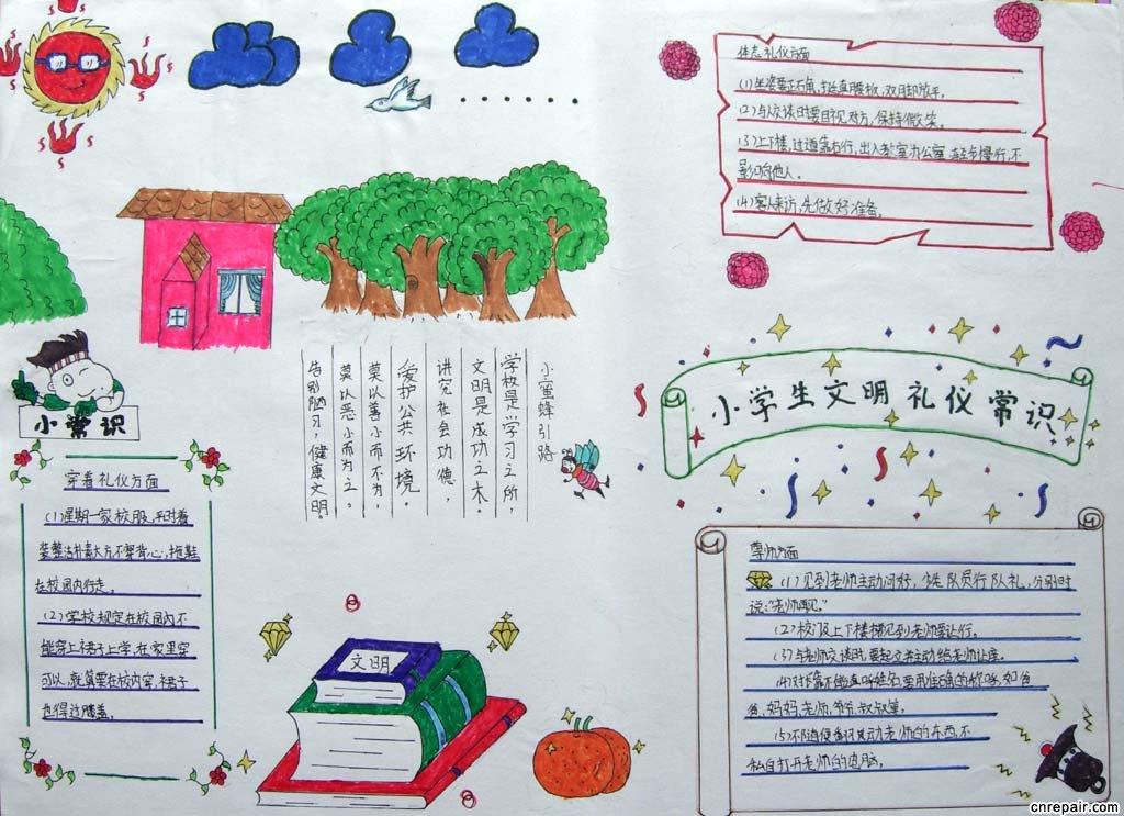 文明礼仪,手抄报,黑板报,济南小学生,模板设计图,素材集锦