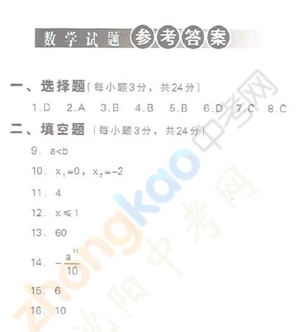 2009年沈阳中考数学试题参考答案