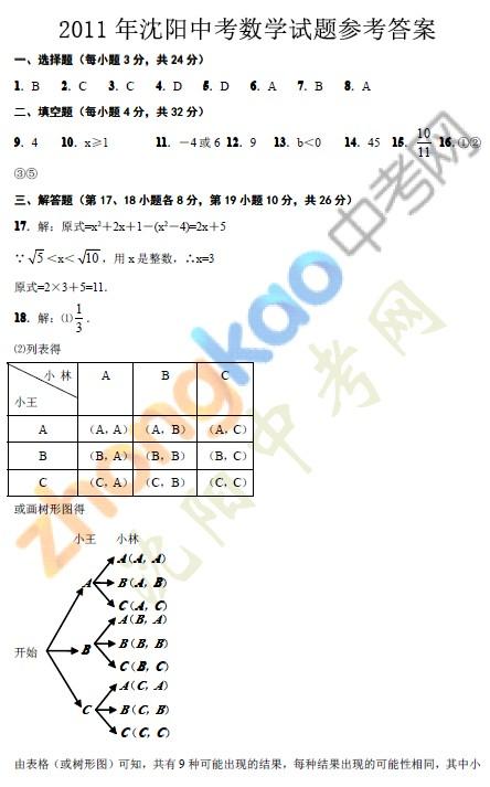 2011年沈阳中考数学试题参考答案
