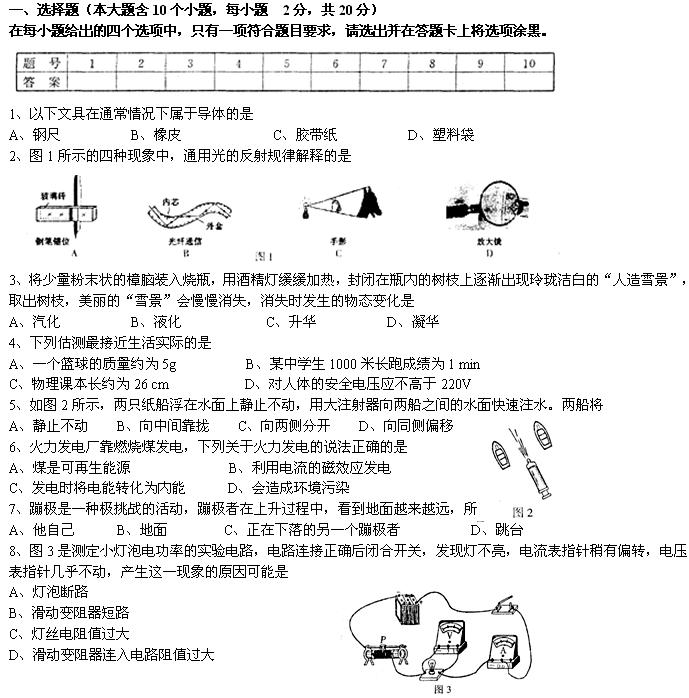 2008年山西省太原市中考物理试题