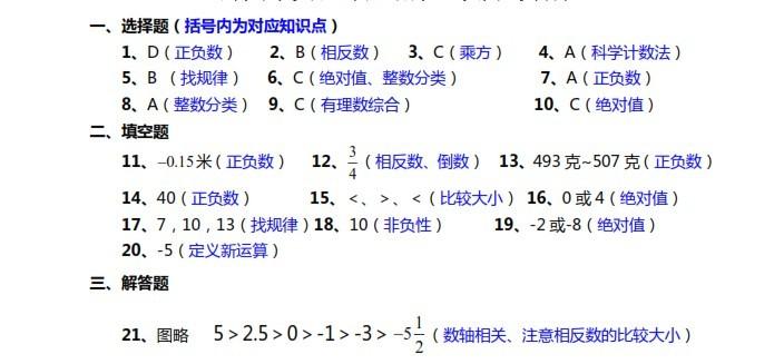 郑州实验外国语初一第一次月考数学答案