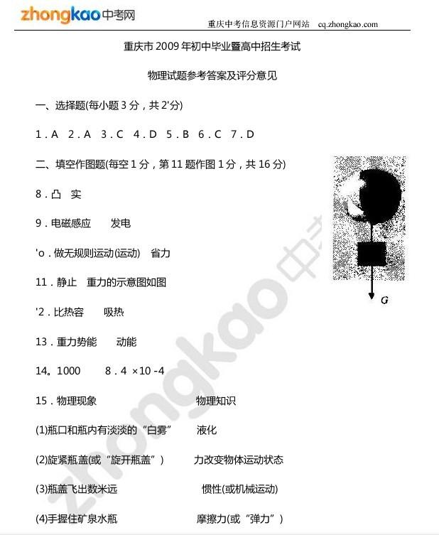 2009重庆中考物理真题参考答案及评分标准
