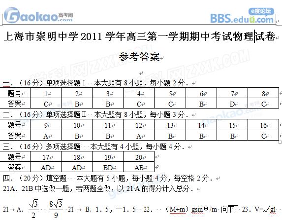 上海崇明中学2012届高三上学期期中物理试题和答案