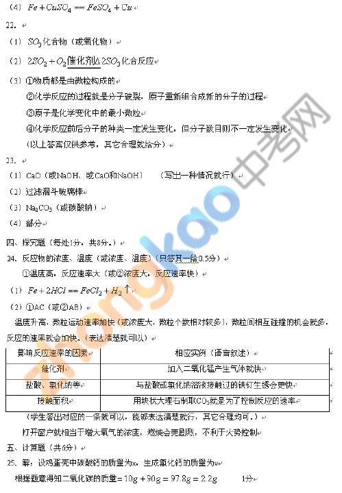 2009-2010学年度沈阳市皇姑区中考化学模拟试题