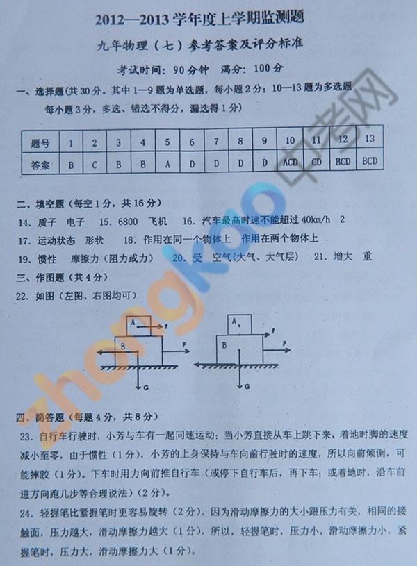 沈阳市铁西区2012-2013学年九年级物理期中考试题答案