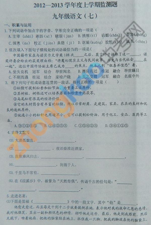 沈阳市铁西区2012-2013学年九年级语文期中考试题