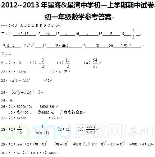 2012年苏州星海、星湾年级期中v年级中学数学五下册答案语文刷子李备课图片