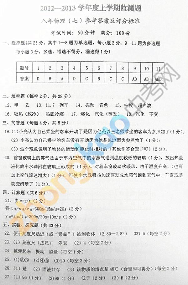 沈阳市铁西区2012-2013学年八年级物理期中考试题答案