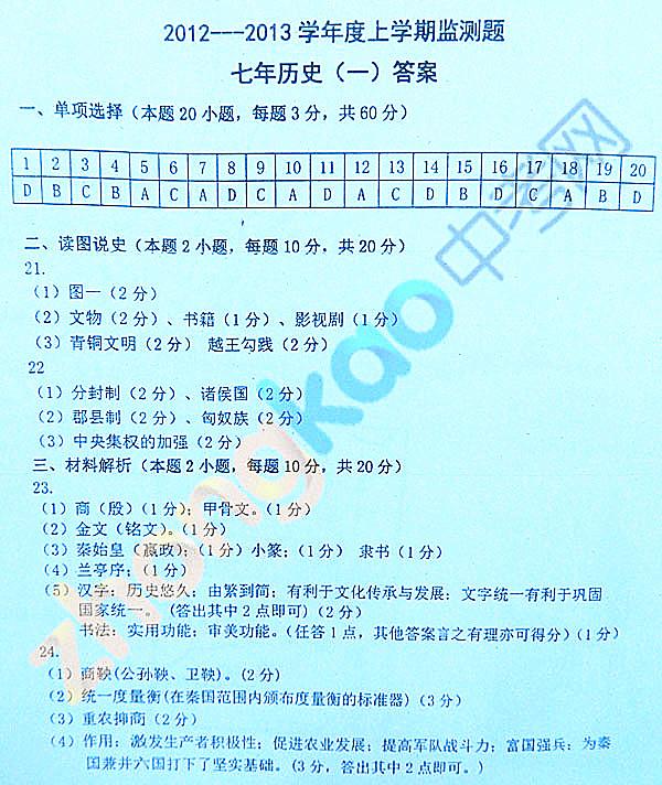 沈阳市铁西区2012-2013学年七年级历史期中考试题答案