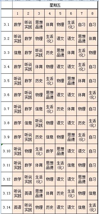 山师大二附中课程表