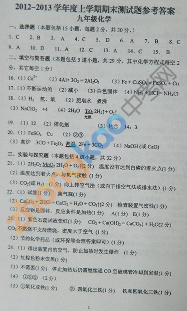 沈阳市铁西区2012-2013学年九年级化学期末考试题答案