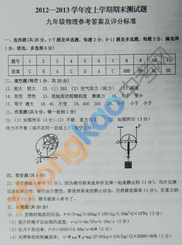 沈阳市铁西区2012-2013学年九年级物理期末考试题答案