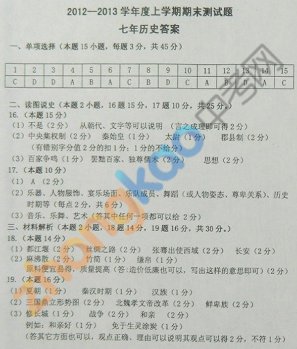 沈阳市铁西区2012-2013学年七年级历史期末考试题答案