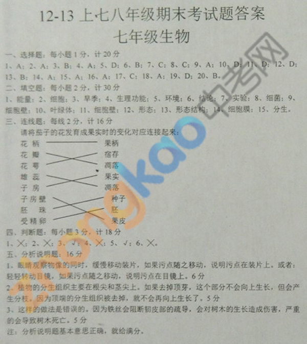 沈阳市铁西区2012-2013学年七年级生物期末考试题答案