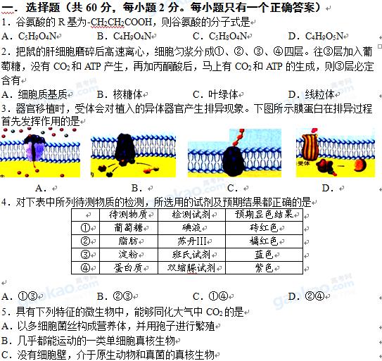 上海市闵行区2013届高三一模生物试题及参考答案