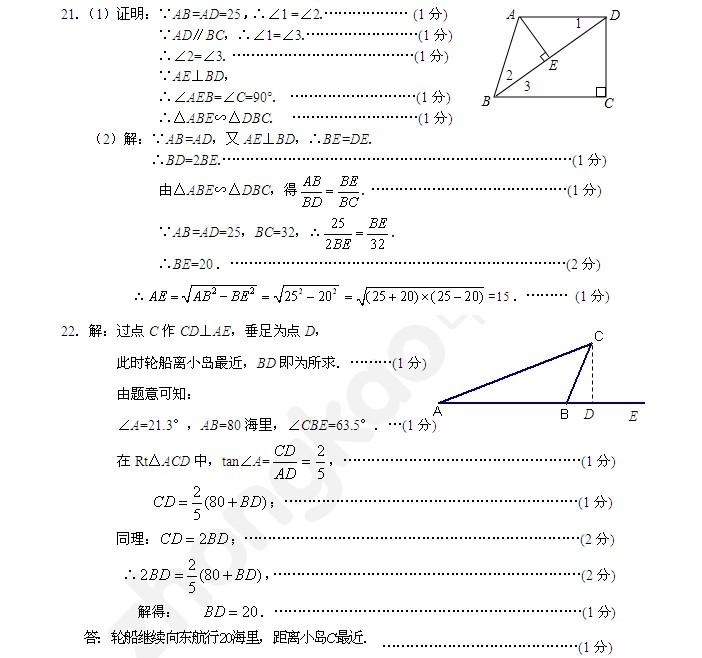 2012学年普陀区九年级数学期终调研试卷参考答案2012.12