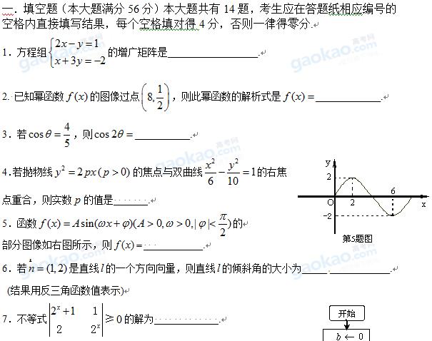 上海市徐汇区2013届高三一模数学试题及参考答案(文科)