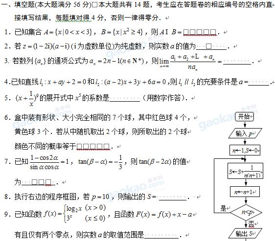 上海市黄浦区2013届高三一模数学试题及参考答案(理科)
