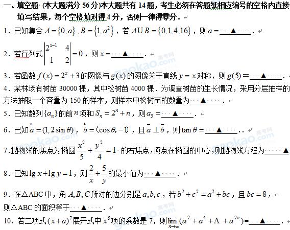 上海市松江区2013届高三一模数学试题及参考答案(理科)