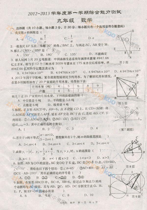 高新一中2012 2013学年度九年级培优班期末数学试题