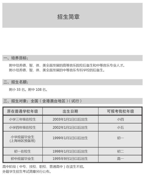 2013年上海音乐学院附属中学招生简章