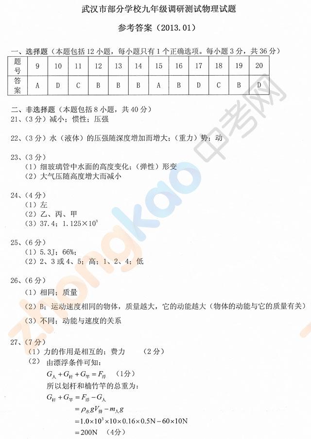 武汉中考网 2012~2013武汉市部分学校九年级调研测试物理答案