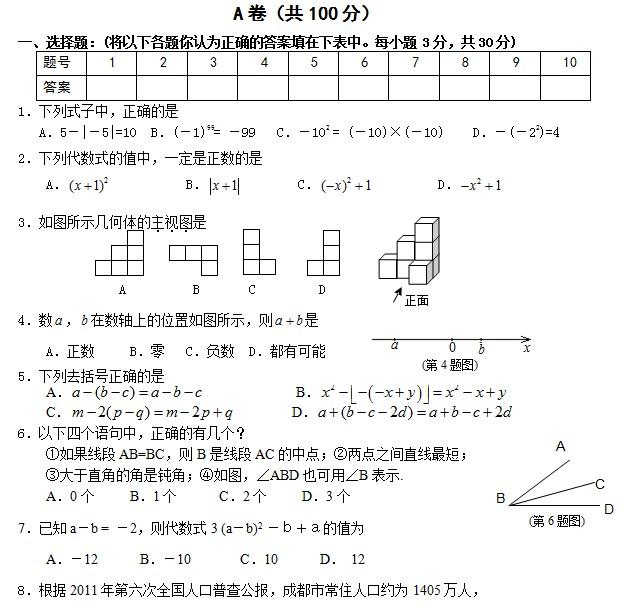 成都武侯区2013七年级期末数学试卷及答案_成