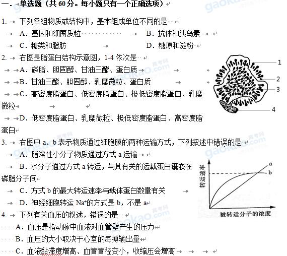 上海市杨浦区2013届高三一模生物试卷及参考答案