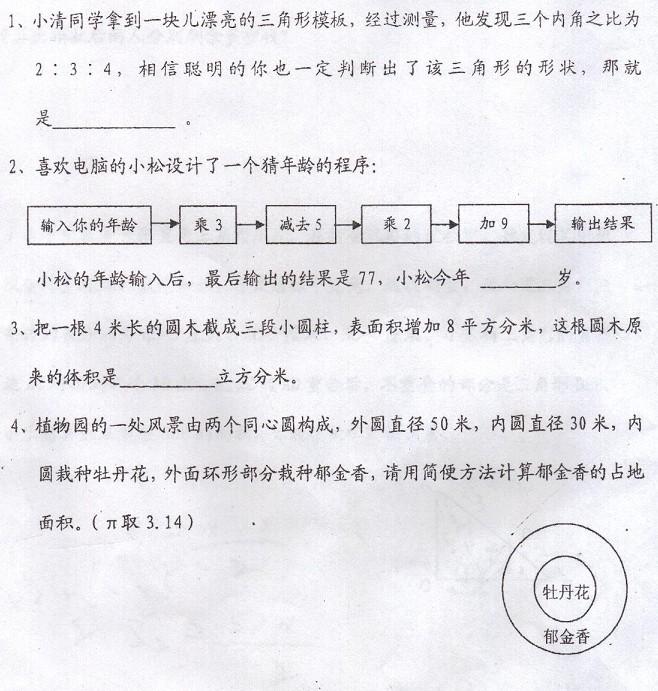 2009年济南外国语学校小升初招生之数学考试试卷及参考答案