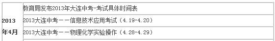 2013大连中考时间及具体安排 ―― 三月份