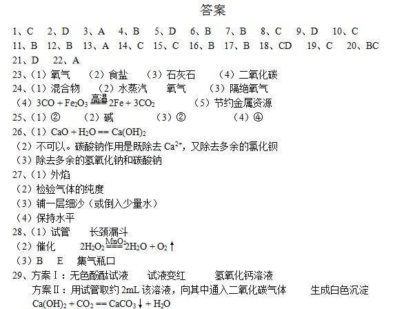 2009年青岛中考化学试题答案下载