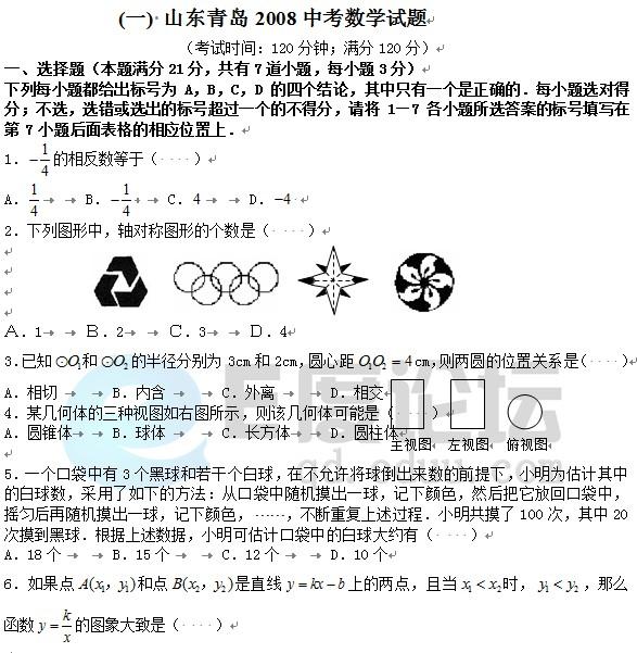 2008年青岛中考数学试题下载